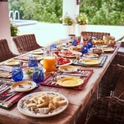 Breakfast - Table full of Eggs, Cheese, Bread, Honey, Fruits,, Western Cape Accommodation
